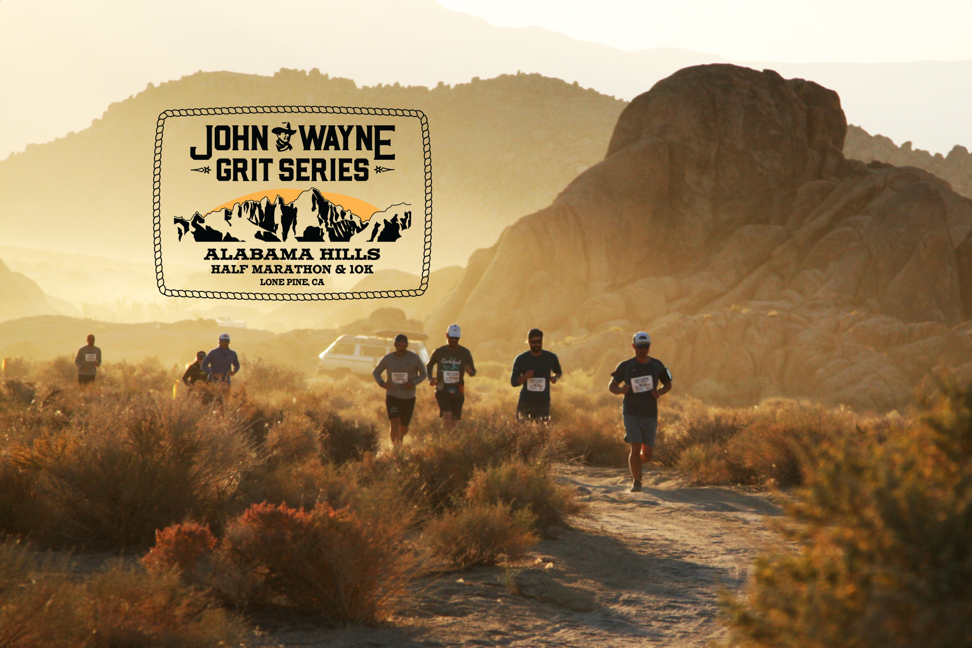 Trail running race at sunrise in the Alabama hills near Lone Pine California